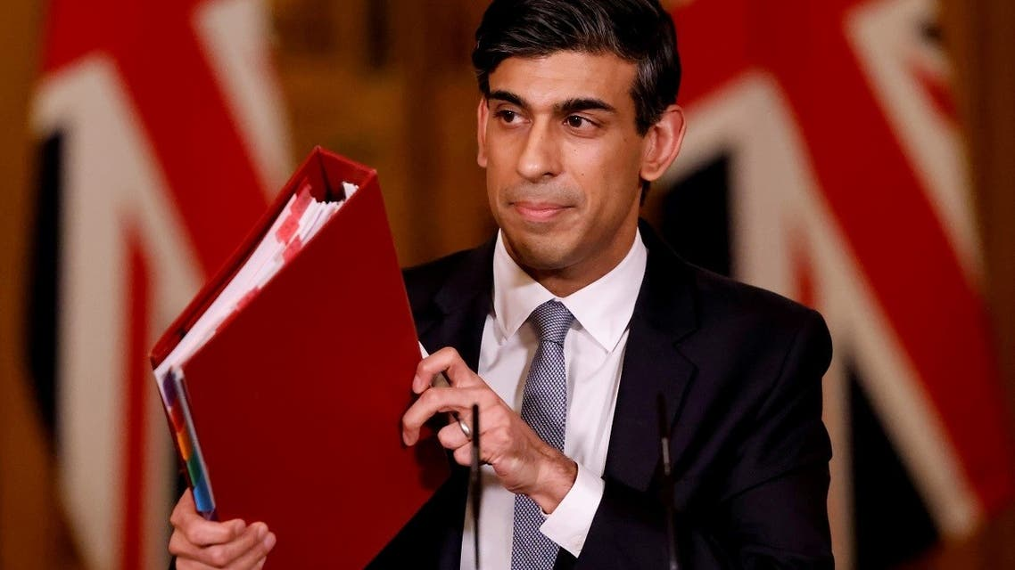 Britain's Chancellor of the Exchequer Rishi Sunak attends a virtual press conference inside 10 Downing Street in central London, Britain, on March 3, 2021. (Reuters)