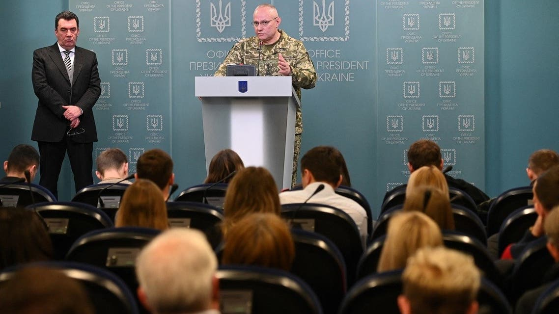 Ruslan Khomchak, military commander of the Armed Forces of Ukraine, speaks flanked by Oleksiy Danilov, secretary of Ukraine's Security Council, at a briefing following an outbreak of violence with pro-Russian separatists on the frontline, in Kiev, on February 18, 2020. (AFP)