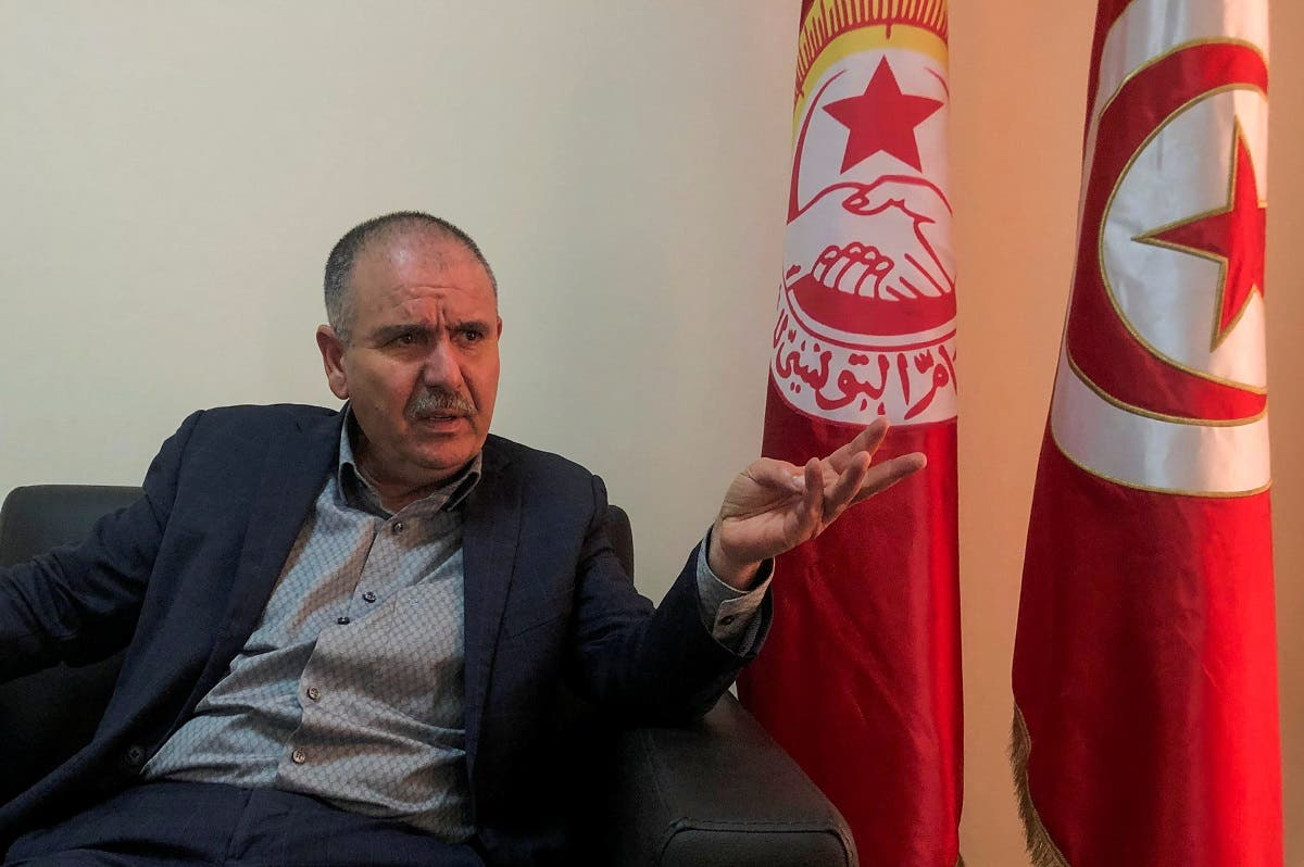 Noureddine Taboubi, Secretary General of the Tunisian General Labour Union (UGTT), speaks during an interview with Reuters in Tunis, Tunisia, on January 23, 2021. (Reuters)