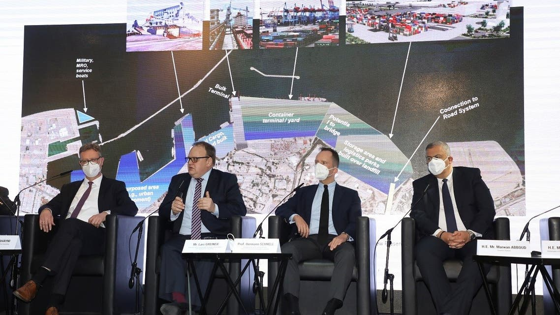 Representatives of German firms attend a press conference to outline proposals to rebuild Beirut port, in Beirut, Lebanon April 9, 2021. (Reuters)