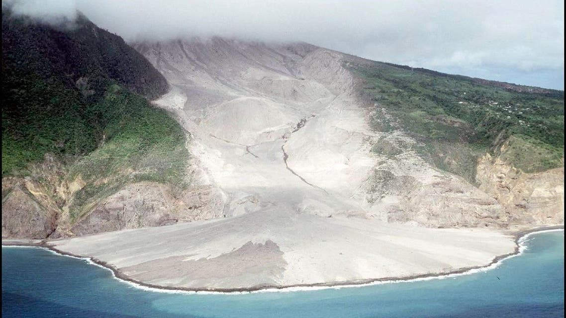 View of the lava flow after a blast from the Soufriere volcano.  (File photo: AFP)