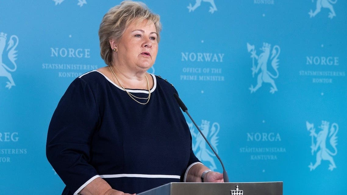 Norway's Prime Minister Erna Solberg speaks during a news conference about the coronavirus, in Oslo, Norway, on September 3, 2020.  (Reuters)