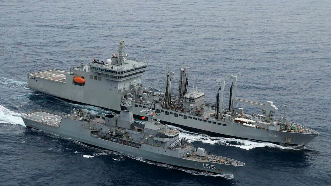 This handout photo taken and released by the Indian Navy on November 18, 2020 shows a ship refuelling during the second phase of the Malabar naval exercise in the Arabian sea. (File photo: AFP)