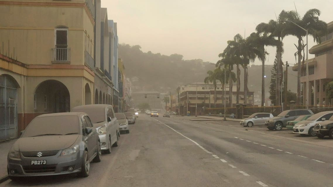 Ash covers roads a day after the La Soufriere volcano erupted after decades of inactivity, in Kingstown, St Vincent and the Grenadines April 10, 2021. (Reuters)