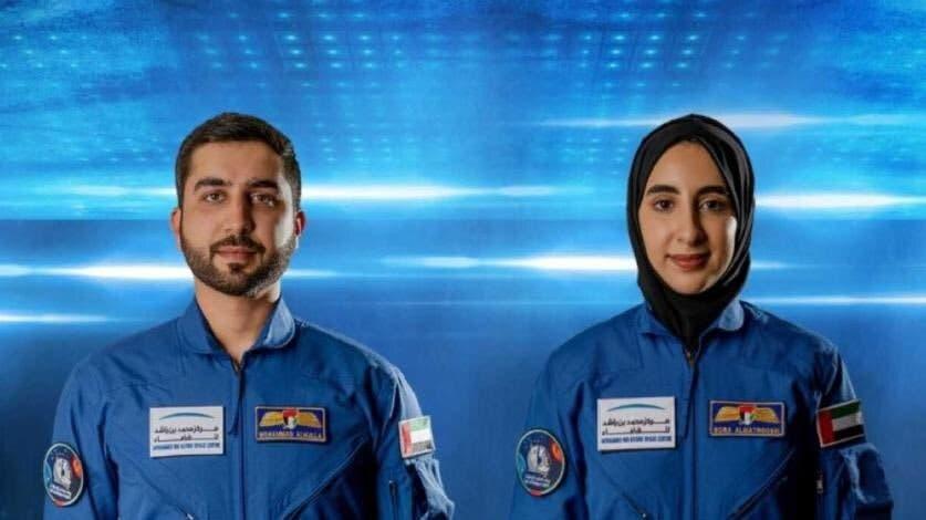 The UAE's latest astronauts, Mohammed al-Mulla (L) and Noura al-Matrooshi (R). (Twitter)