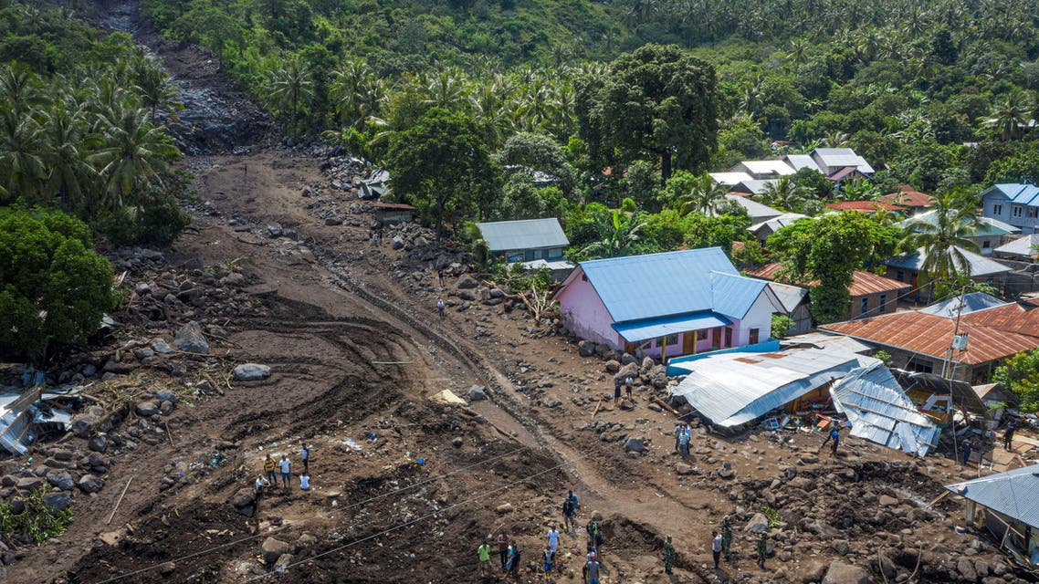 An aerial picture shows houses damaged by landslides triggered by tropical cyclone Seroja in East Flores, East Nusa Tenggara province, Indonesia April 8, 2021. (File photo: Reuters)