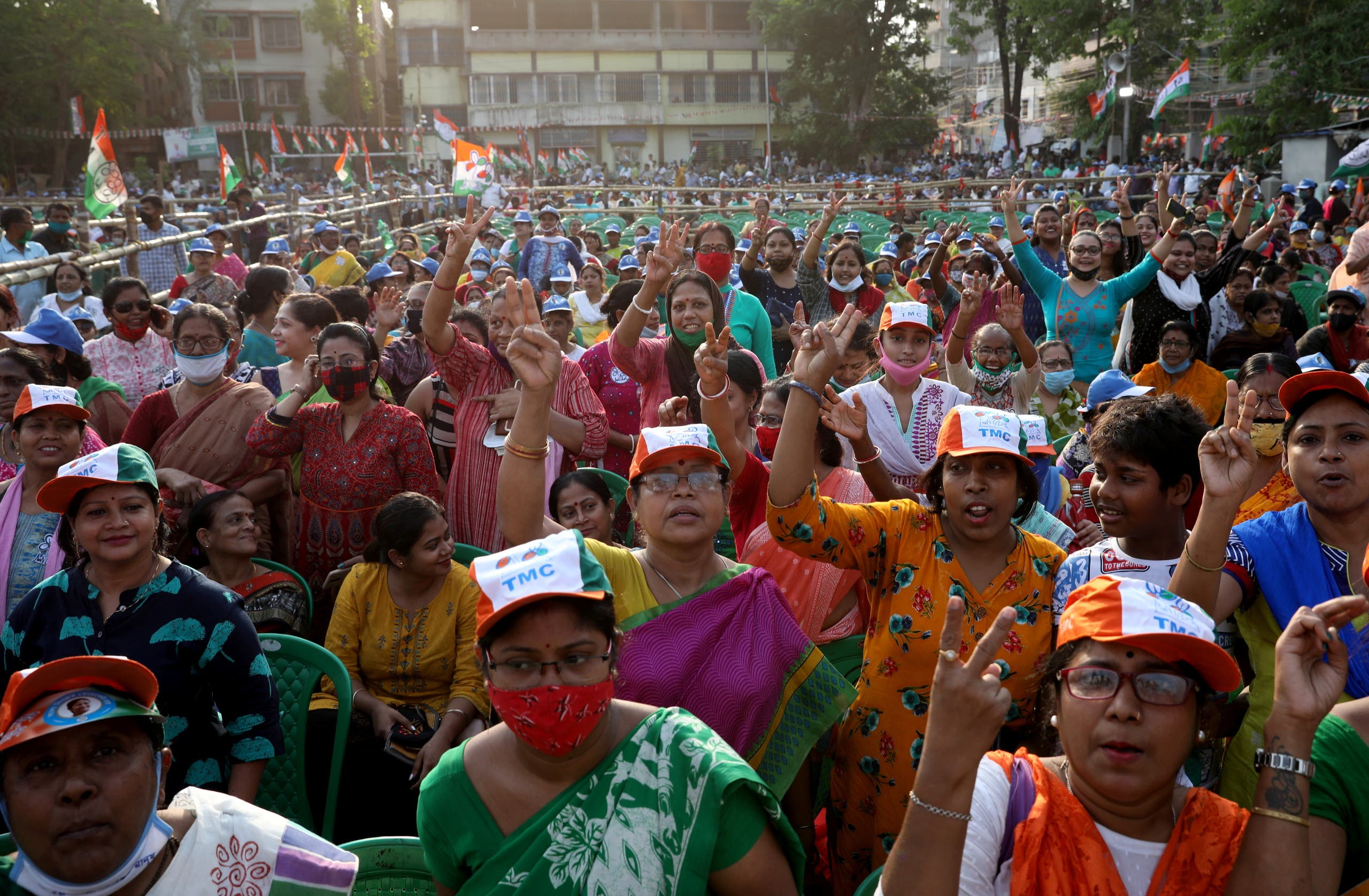 Supporters of the Chief Minister of the eastern state of West Bengal and Trinamool Congress (TMC) Chief, Mamata Banerjee, attend an election campaign rally . (File photo: Reuters)