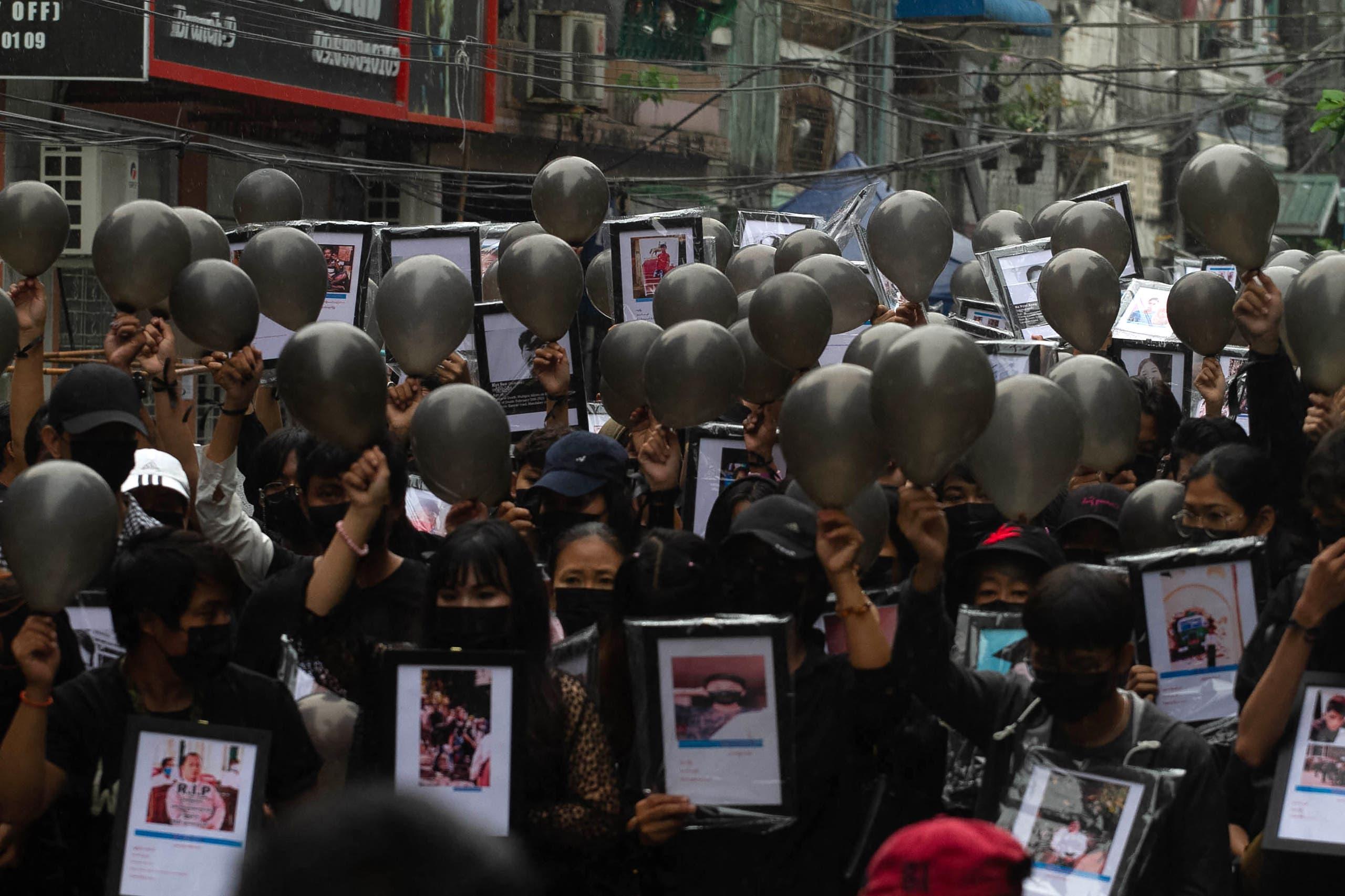 من الاحتجاجات في يانغون (أرشيفية)