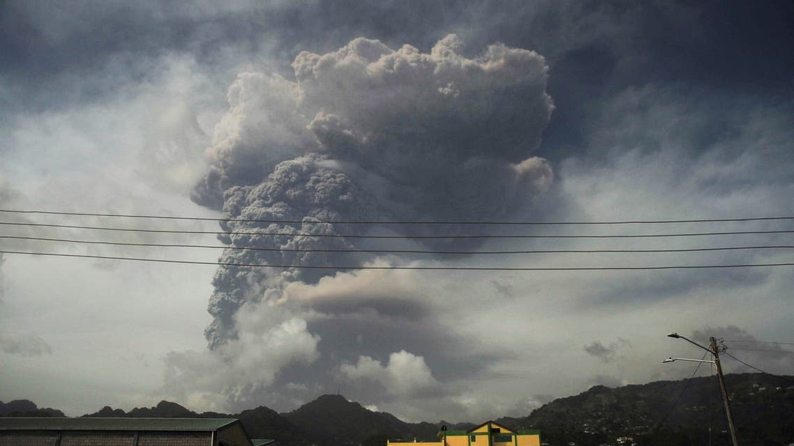 Ash and smoke billow as the La Soufriere volcano erupts in Kingstown on the eastern Caribbean island of St. Vincent April 9, 2021. (Reuters)