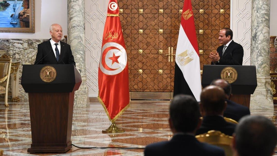 جانب من المؤتمر الصحفي بين الرئيسين السيسي وقيس سعيد