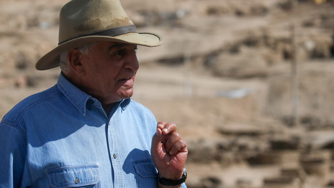 Egyptian archaeologist Zahi Hawass speaks as he unveils details of the recent discovery of the 'Lost Golden City', in the West Bank of Luxor, Upper Egypt, April 10, 2021. (Reuters)