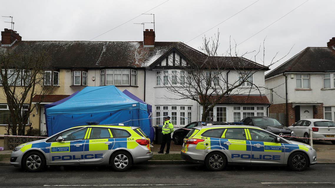 A police officer stands on duty outside the home of Nikolai Glushkov in New Malden, on the outskirts of London, Britain, March 17, 2018. (File photo: Reuters)
