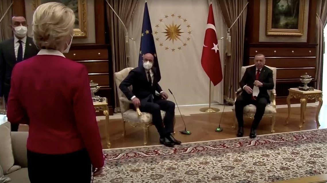 European Commission President Ursula von der Leyen stands as European Council President Michel and Turkish President Erdogan take seats in Ankara, Turkey April 6, 2021, in this screengrab. (European Union/via Reuters)