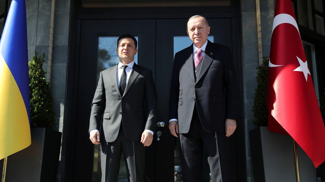 Turkish President Tayyip Erdogan and Ukraine's President Volodymyr Zelenskiy attend a meeting in Istanbul, Turkey, April 10, 2021. (Reuters)
