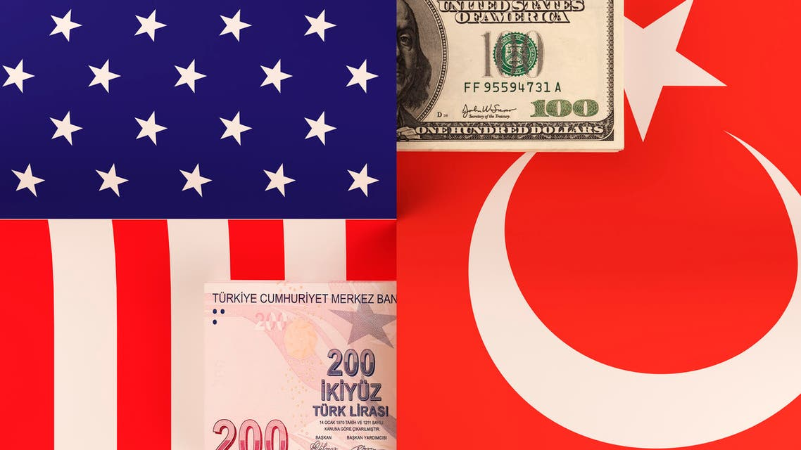 Money transfer between United States and Turkey stock photo