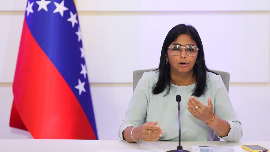Venezuela's Vice President Delcy Rodriguez gestures as she speaks during a news conference in Caracas, Venezuela, April 7, 2021. (Reuters/Manaure Quintero)