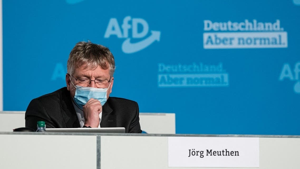 Alternative for Germany (AfD) party co-chairman Joerg Meuthen attends the second day of the partys' congress in Dresden, eastern Germany, on April 11, 2021. (Jens Schlueter/AFP)