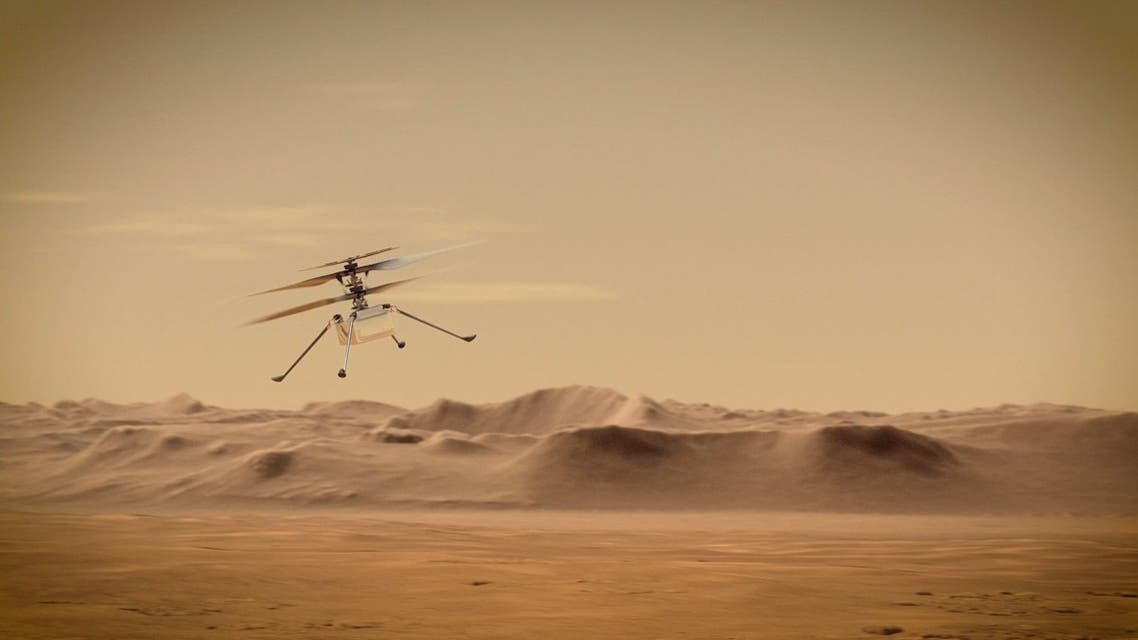 Ingenuity Mars Helicopter flies over Mars in an undated illustration provided by Jet Propulsion Laboratory in Pasadena, California. (NASA/JPL-Caltech/Handout via Reuters)