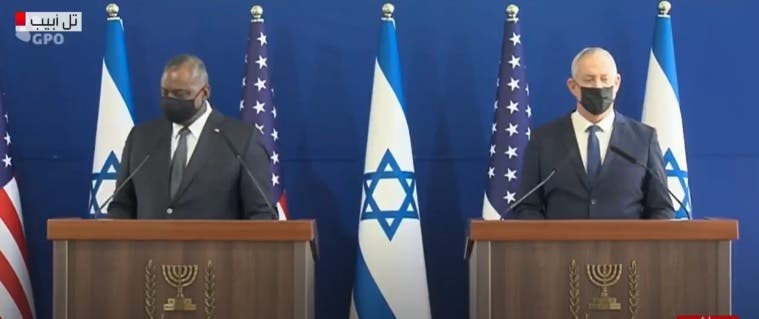 لوید آستین وزیر دفاع آمریکا وبنی گانتس وزیر دفاع اسرائیل