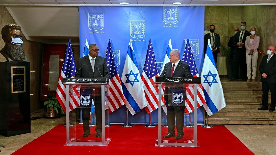 Israeli Prime Minister Benjamin Netanyahu and US Secretary of Defense Lloyd Austin deliver joint statement after meeting at Netanyahu's office in Jerusalem. (Reuters)