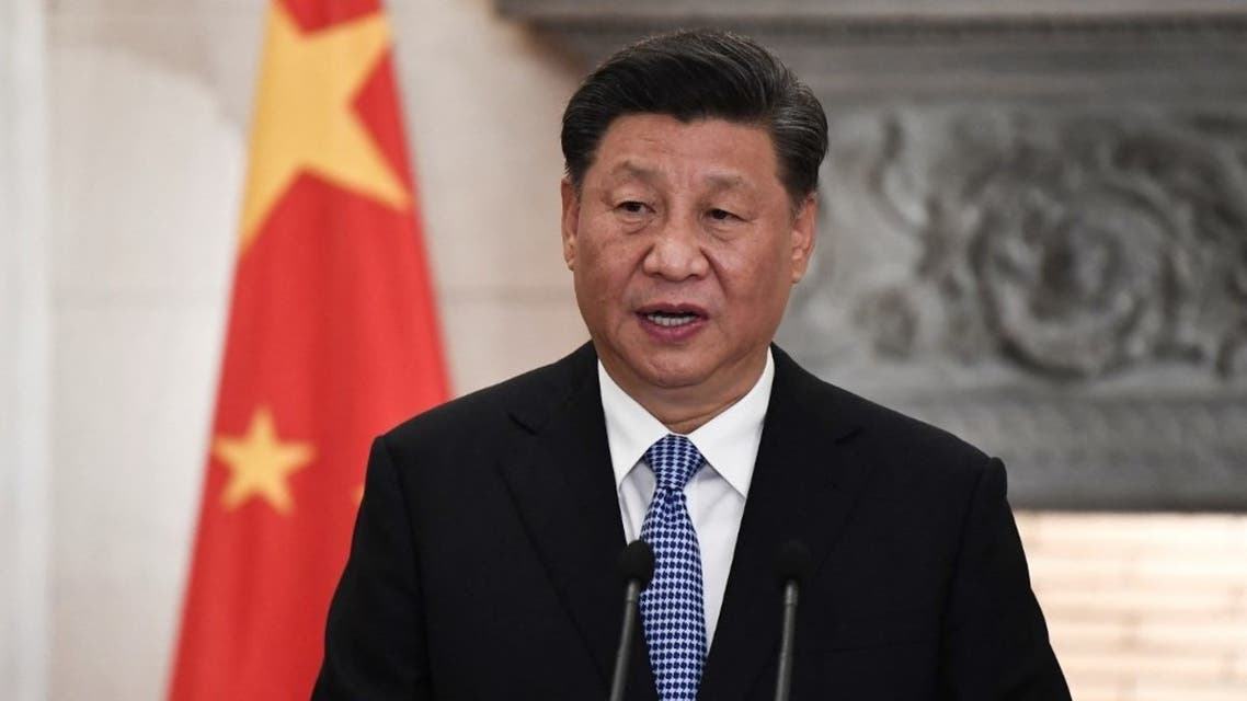 Chinese President Xi Jinping speaks during a joint press conference with the Greek Prime Minister following their meeting at the Maximos Mansion in Athens on November 11, 2019, as part of his two-day official visit to Greece. (AFP)