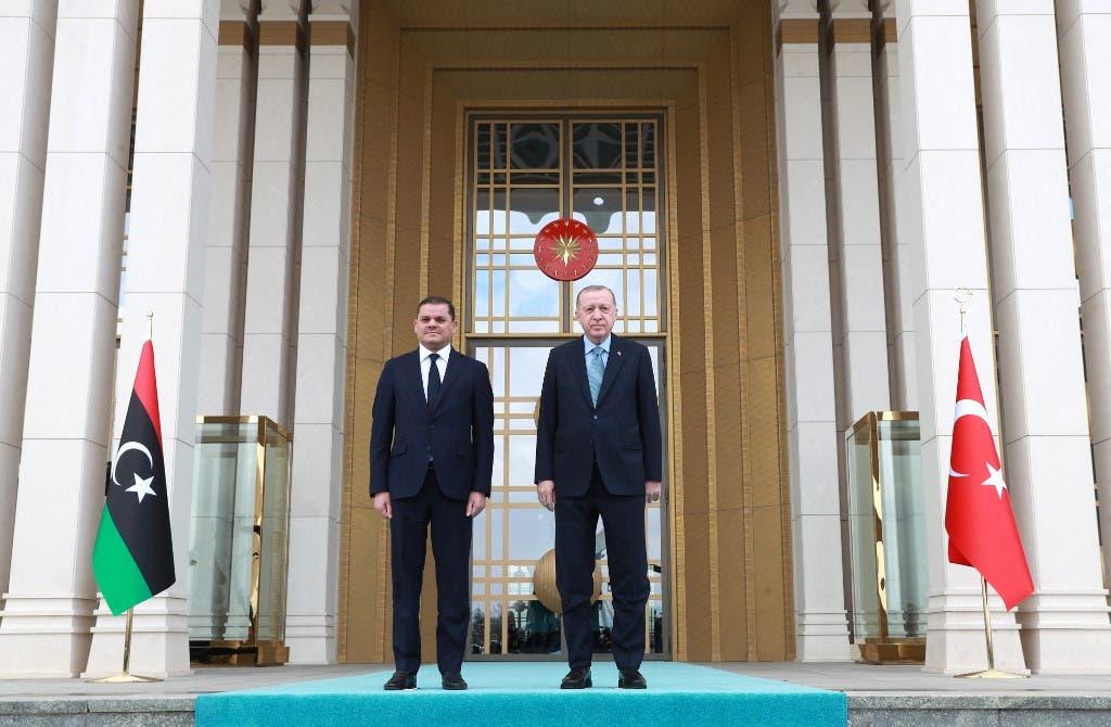 الدبيبة وأردوغان في أنقرة يوم 12 أبريل