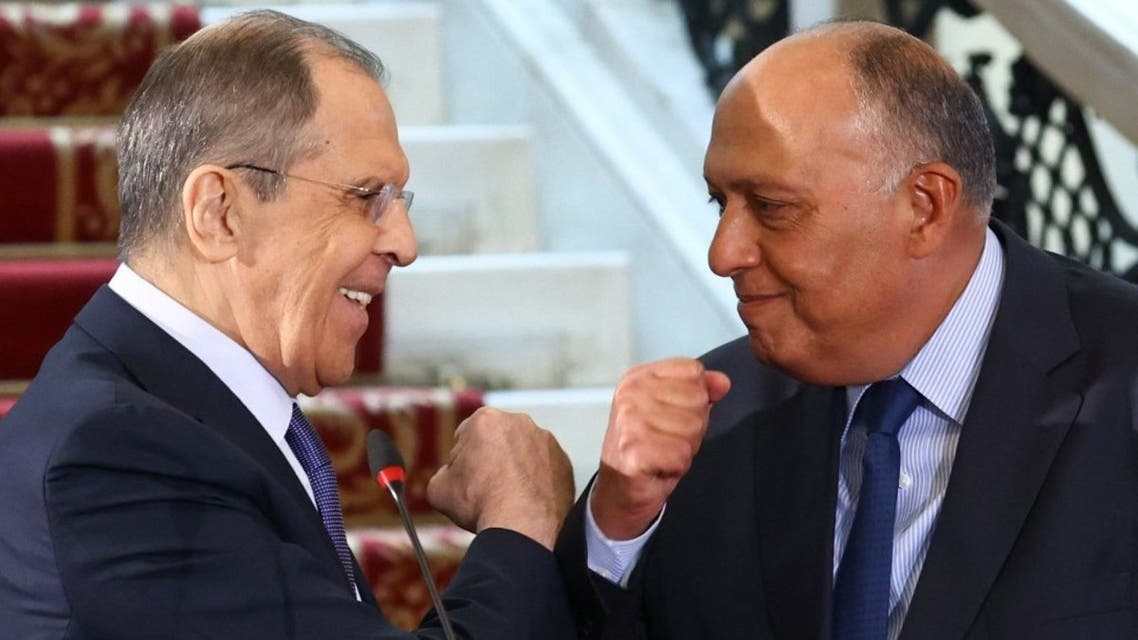 Russian Foreign Minister Sergei Lavrov and Egyptian Foreign Minister Sameh Shoukry hold a joint press conference following their talks in Cairo on April 12, 2021. (AFP)
