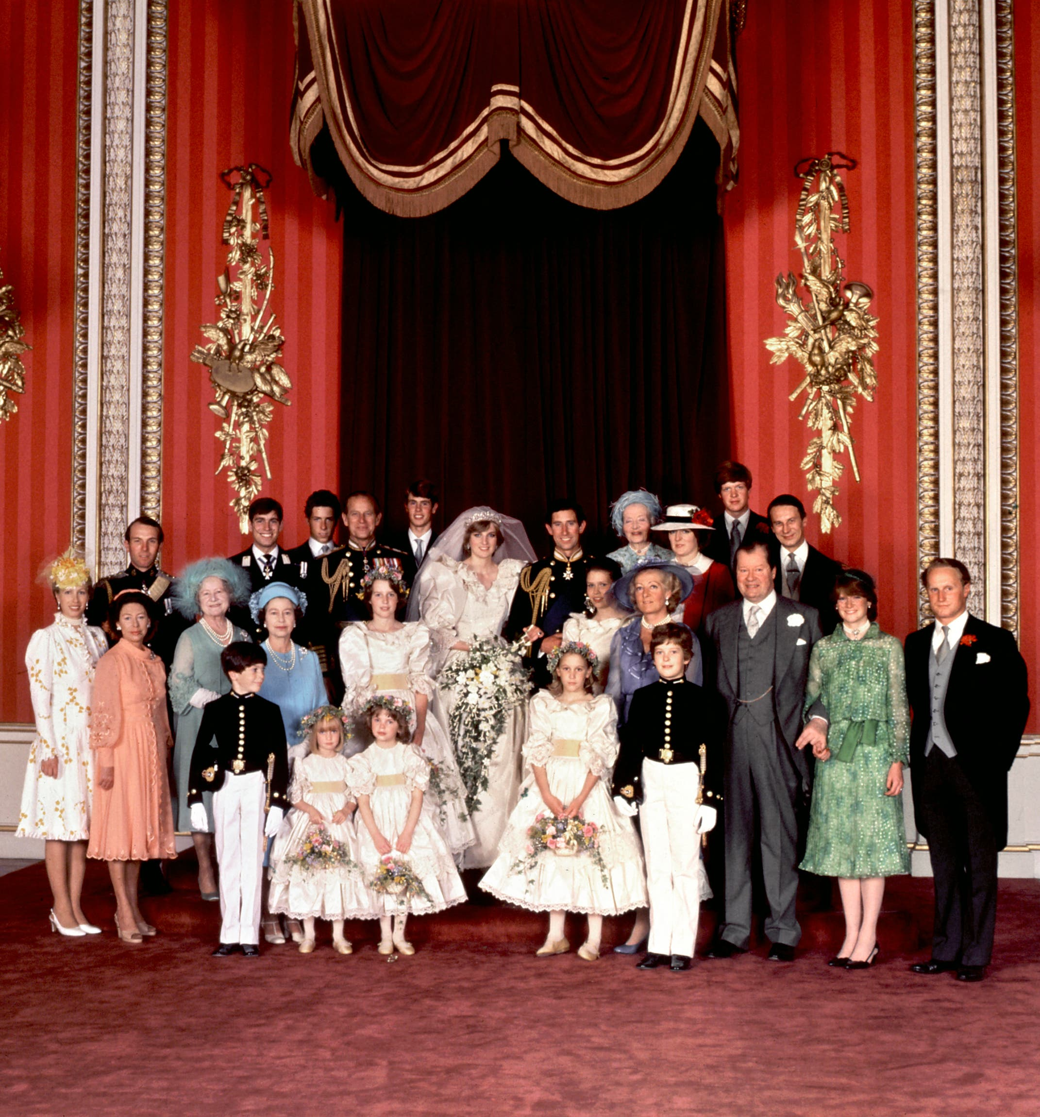 An official family photo taken on 29 July 1981, the wedding day of Prince Charles (C-R) and Lady Diana (C-L), the Princess of Wales. (AFP)