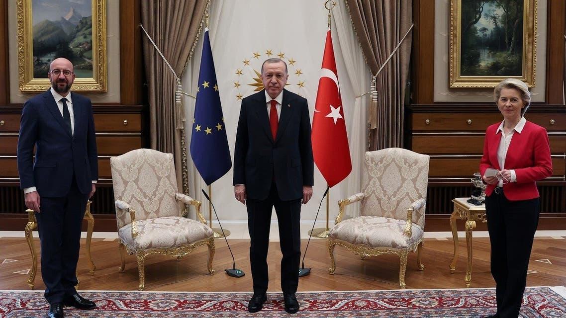 Turkish President Tayyip Erdogan meets with European Council President Charles Michel and European Commission President Ursula von der Leyen in Ankara, April 6, 2021. (Reuters)