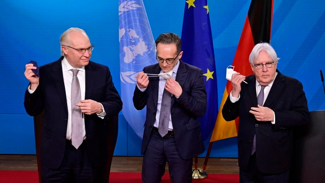(L-R) US special envoy for Yemen Timothy Lenderking, German FM Heiko Maas and UN Special Envoy for Yemen Martin Griffiths following talks at the Foreign Ministry in Berlin on April 12, 2021. (AFP)