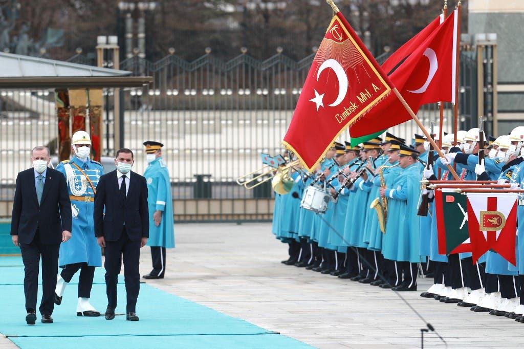 الدبيبة وأردوغان في أنقرة (12 أبريل 2021- فرانس برس)