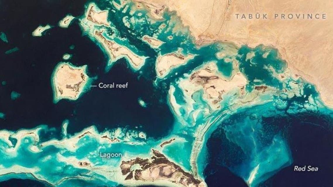 الصورة التي التقطتها ناسا للجزر السعودية