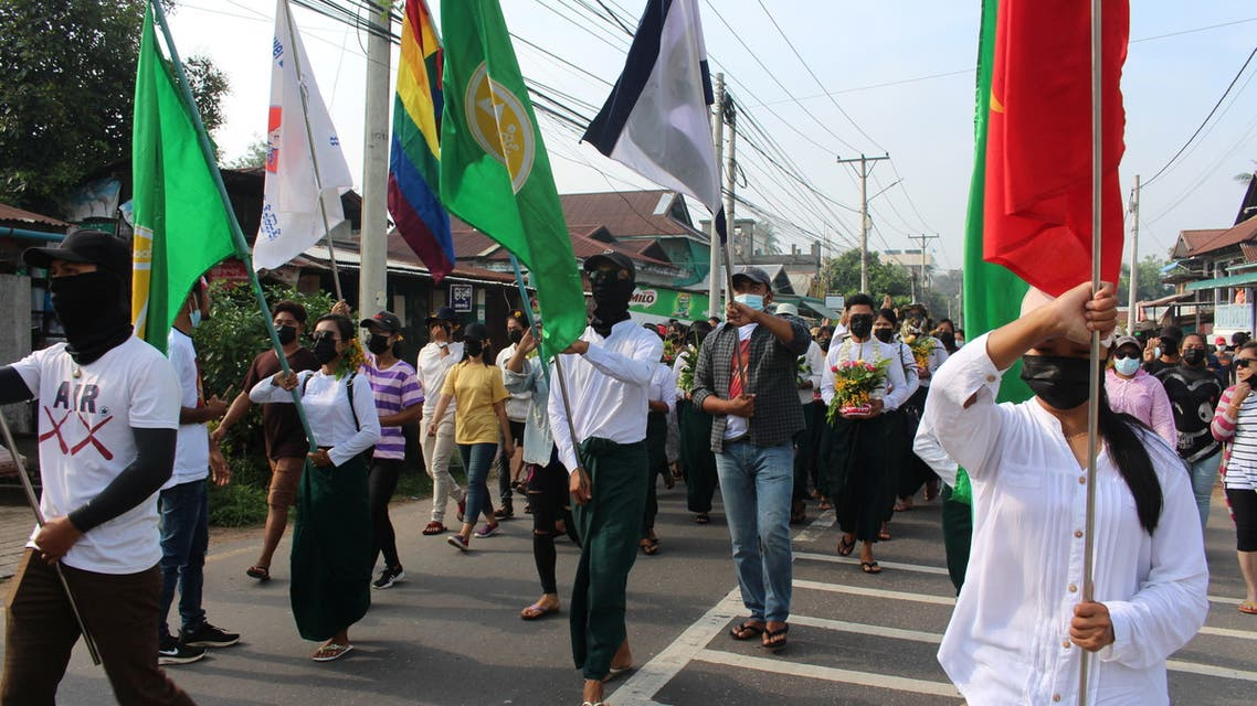People march during a protest against the military coup in Dawei, Myanmar April 13, 2021. Courtesy of Dawei Watch/via REUTERS THIS IMAGE HAS BEEN SUPPLIED BY A THIRD PARTY. MANDATORY CREDIT. MYANMAR OUT. NO COMMERCIAL OR EDITORIAL SALES IN MYANMAR
