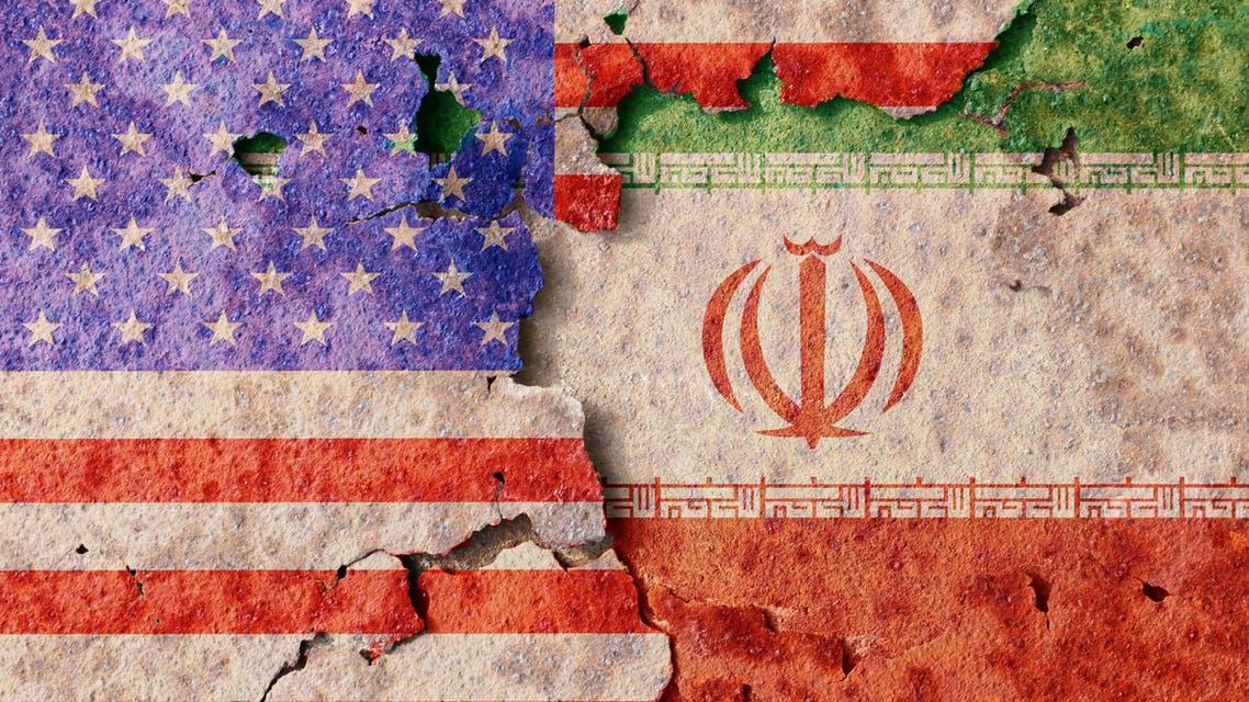 Iran and USA flag on smoke background, USA and Iran Crisis war stock photo