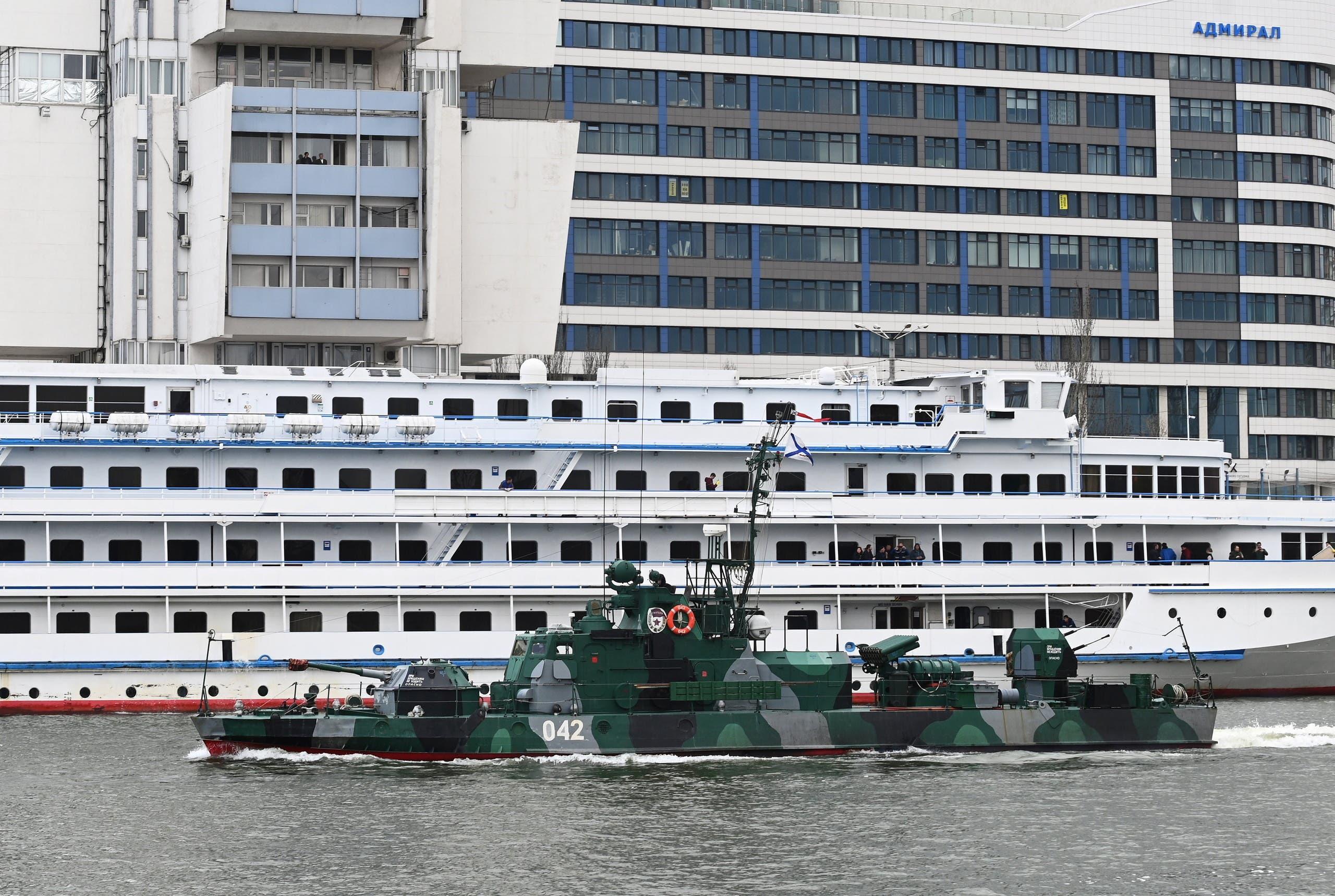 سفينة حربية روسية في طريقها من بحر قزوين إلى البحر الأسود وسط التوتر القائم حالياً مع أوكرانيا
