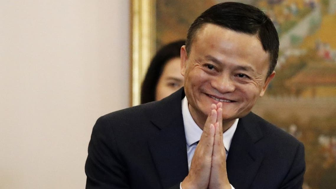 Alibaba founder Jack Ma gestures as he arrives for a meeting with Thailand's Prime Minister Prayuth Chan-ocha in Bangkok on April 19, 2018. (AFP)