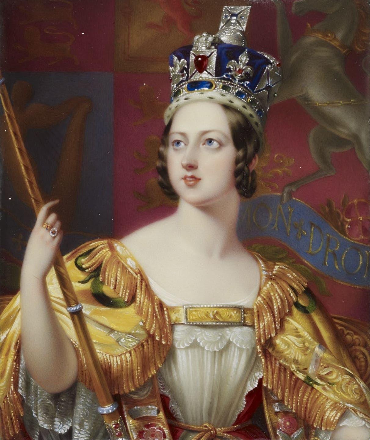لوحة تجسد عملية تنصيب الملكة فكتوريا