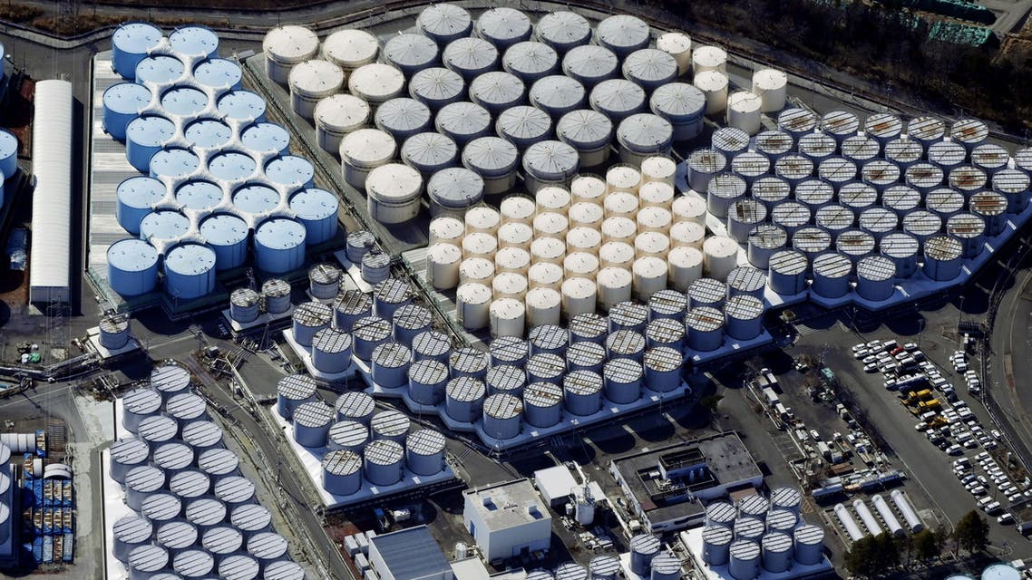 An aerial view shows the storage tanks for treated water at the tsunami-crippled Fukushima Daiichi nuclear power plant in Okuma town, Fukushima prefecture. (Reuters)