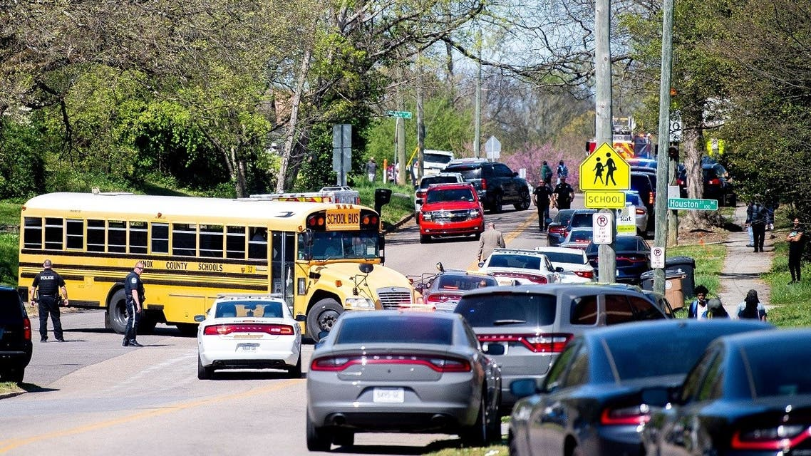 Police attend a shooting at Austin-East Police attend a shooting at Austin-East Magnet High School in Knoxville, Tennessee, April 12, 2021. (Reuters)High School in Knoxville, Tennessee, April 12, 2021. (Reuters)
