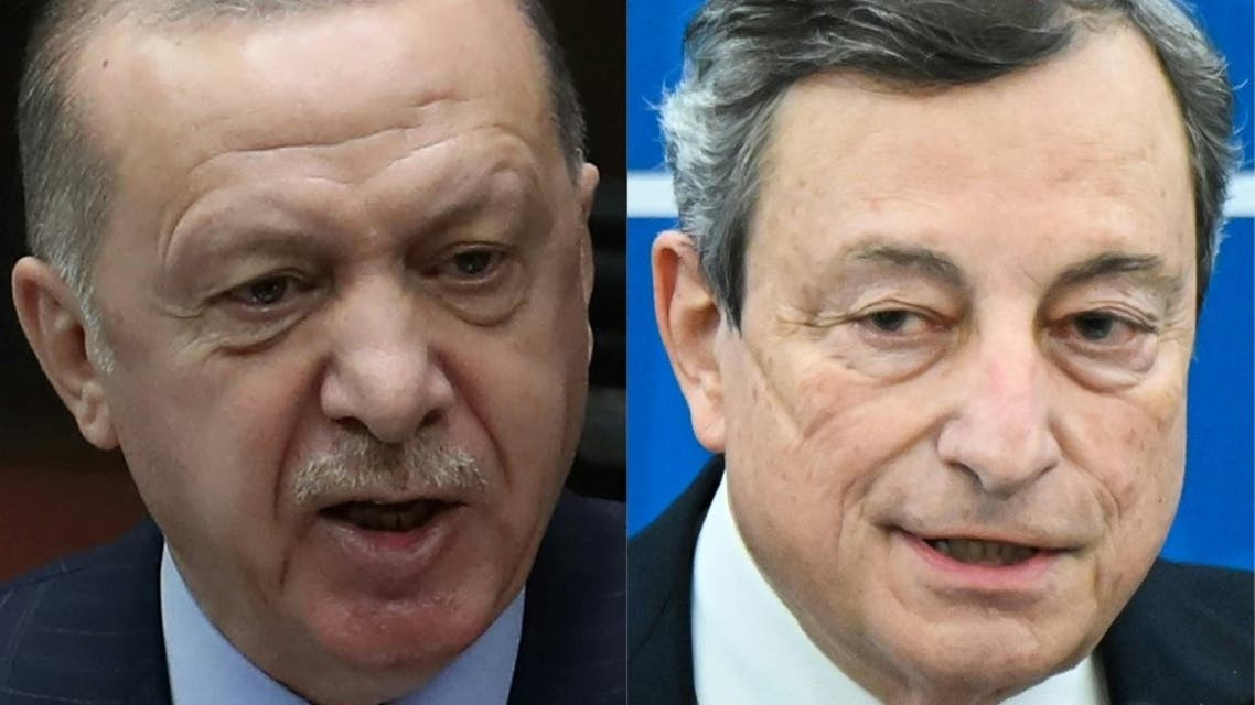 This combination of pictures created on April 14, 2021 shows a file photo taken on January 27, 2021 of Turkish President Recep Tayyip Erdogan (L) in Ankara, and a file photo taken on March 19, 2021 of Italy's Prime Minister, Mario Draghi in Rome. (AFP)