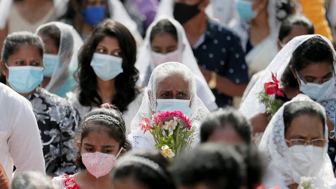 Family members of the victims of April 21's Easter Sunday bomb attack in 2019, attend the Easter Sunday prayers at the one of the attacked churches St. Sebastian's Church in Katuwapitiya, Sri Lanka April 4, 2021. (File photo: Reuters)
