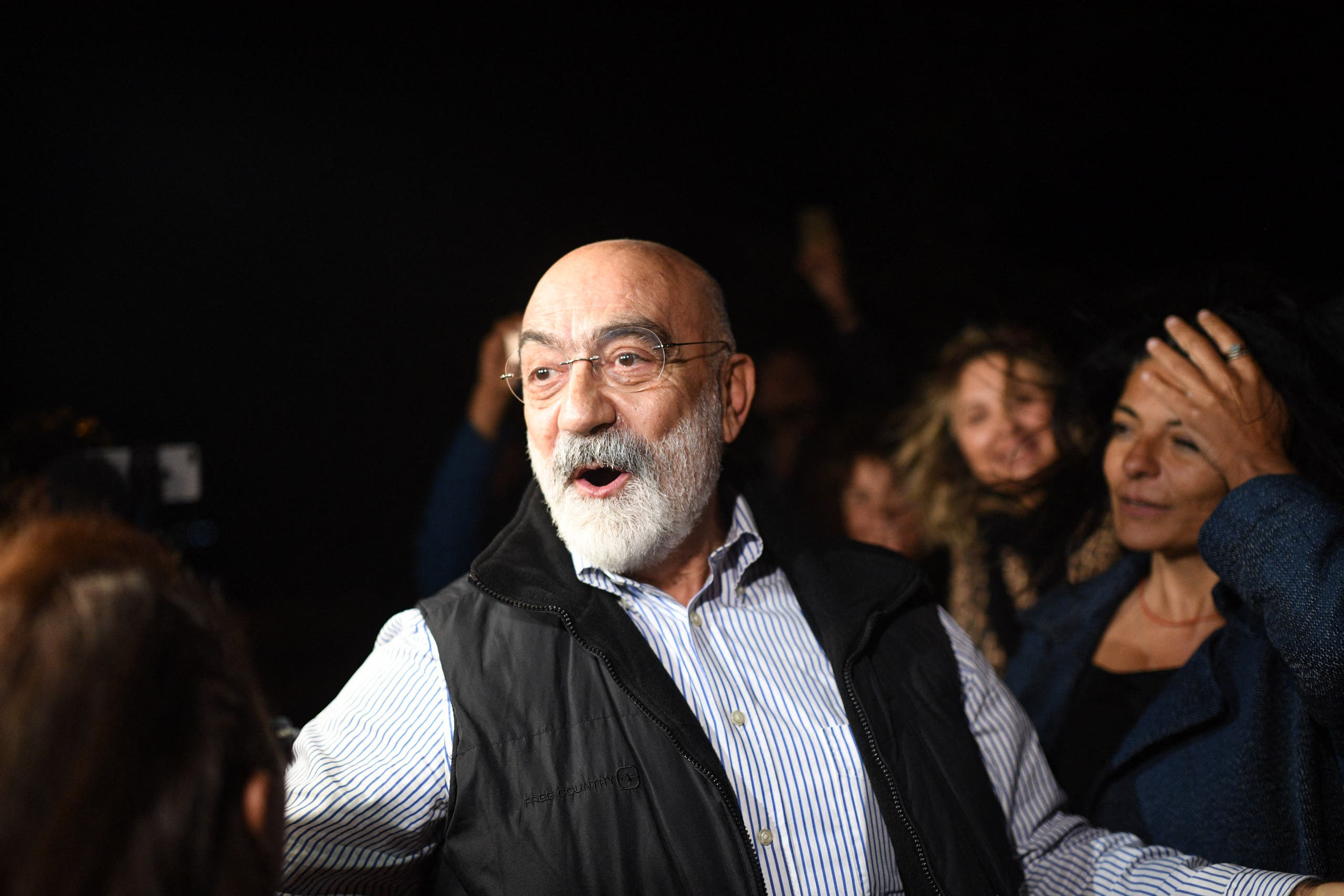 Turkish journalist and writer Ahmet Altan reacts after being realised on November 4, 2019. A Turkish court ordered journalist Ahmet Altan to be released on November 4, 2019, under judicial supervision despite sentencing him to more than 10 years in prison, state news agency Anadolu reported. (AFP)