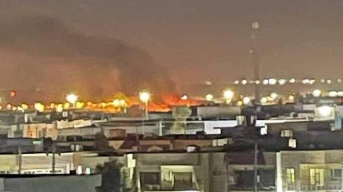 أولى الصور إثر القصف الذي استهدف مطار أربيل الدولي بكردستان العراق