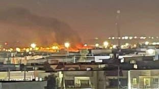 مشاهد تظهر اندلاع النيران في مطار أربيل بعد استهدافه بمسيّرة مفخخة