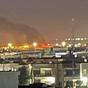 مشاهد تظهر اندلاع النيران في مطار أربيل بعد استهدافه بمسيرة مفخخة