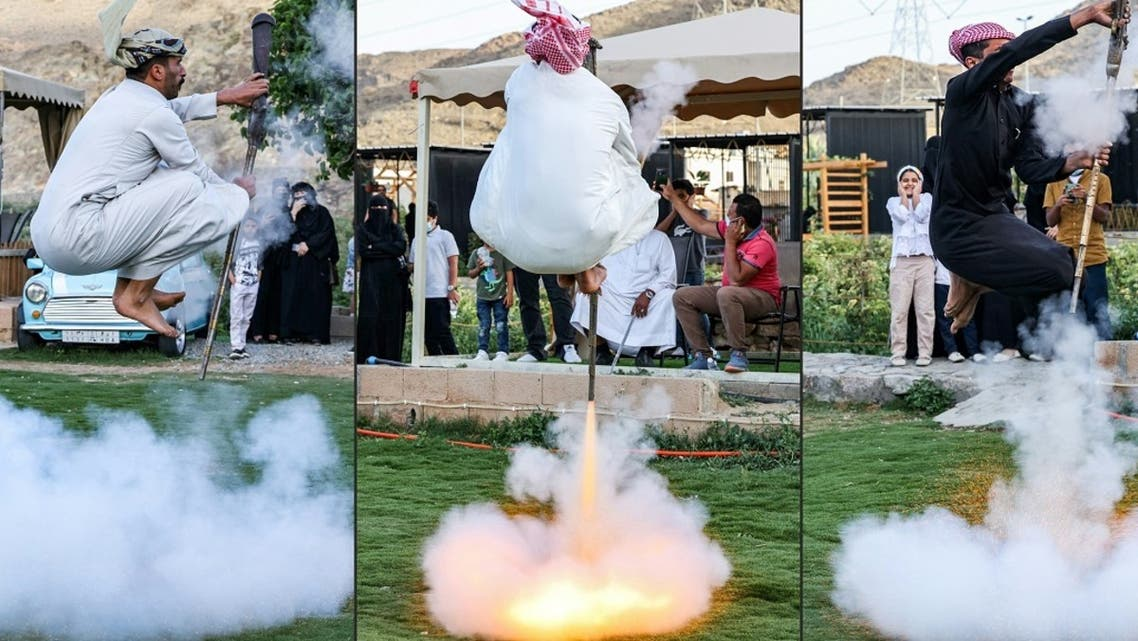 This combination of pictures taken on April 10, 2021 shows Saudi folklore dancers performing the art of Taashir, a traditional dance of the people of Taif, 750 kilometres west of Saudi Arabia's capital Riyadh. (AFP)