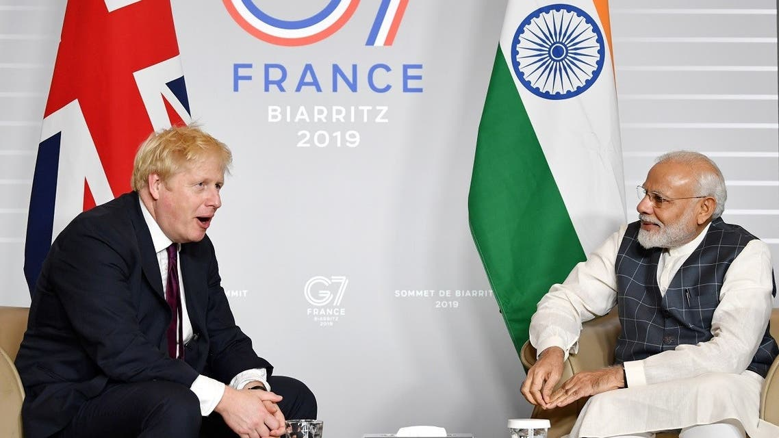 Britain's Prime Minister Boris Johnson meets Indian Prime Minister Narendra Modi at a bilateral meeting during the G7 summit in Biarritz, France, on August 25, 2019. (Reuters)