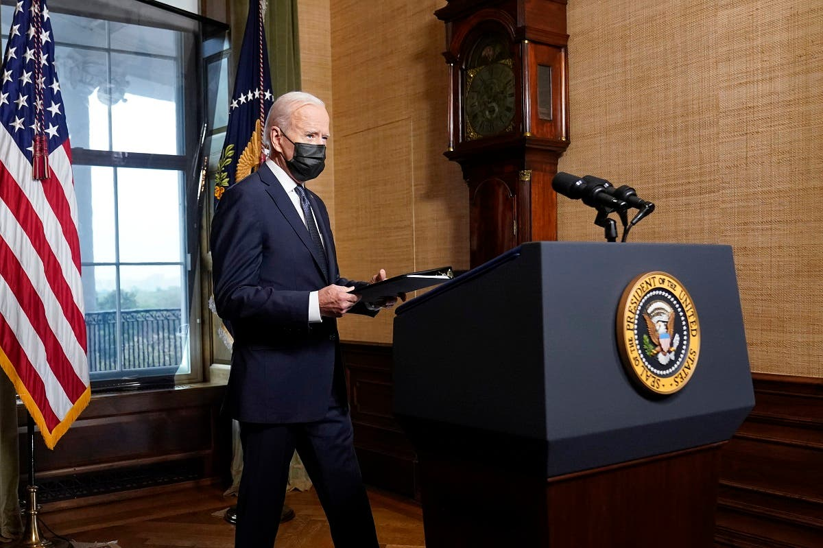 US President Joe Biden announces plans to withdraw troops from Afghanistan, April 14, 2021. (AP)