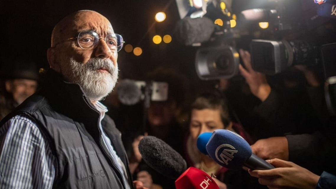 In this file photo taken on November 4, 2019 Turkish journalist and writer Ahmet Altan (L) speaks to journalists after being realised. A top Turkish court ordered, on April 14, 2021, the release of journalist and novelist Ahmet Altan, who was jailed for his alleged involvement in a failed 2016 coup attempt. The Court of Cessations ruling came a day after the European Court of Human Rights demanded the release of Altan, 71, who has spent more than four years behind bars after writing articles critical of Turkish President. (AFP)