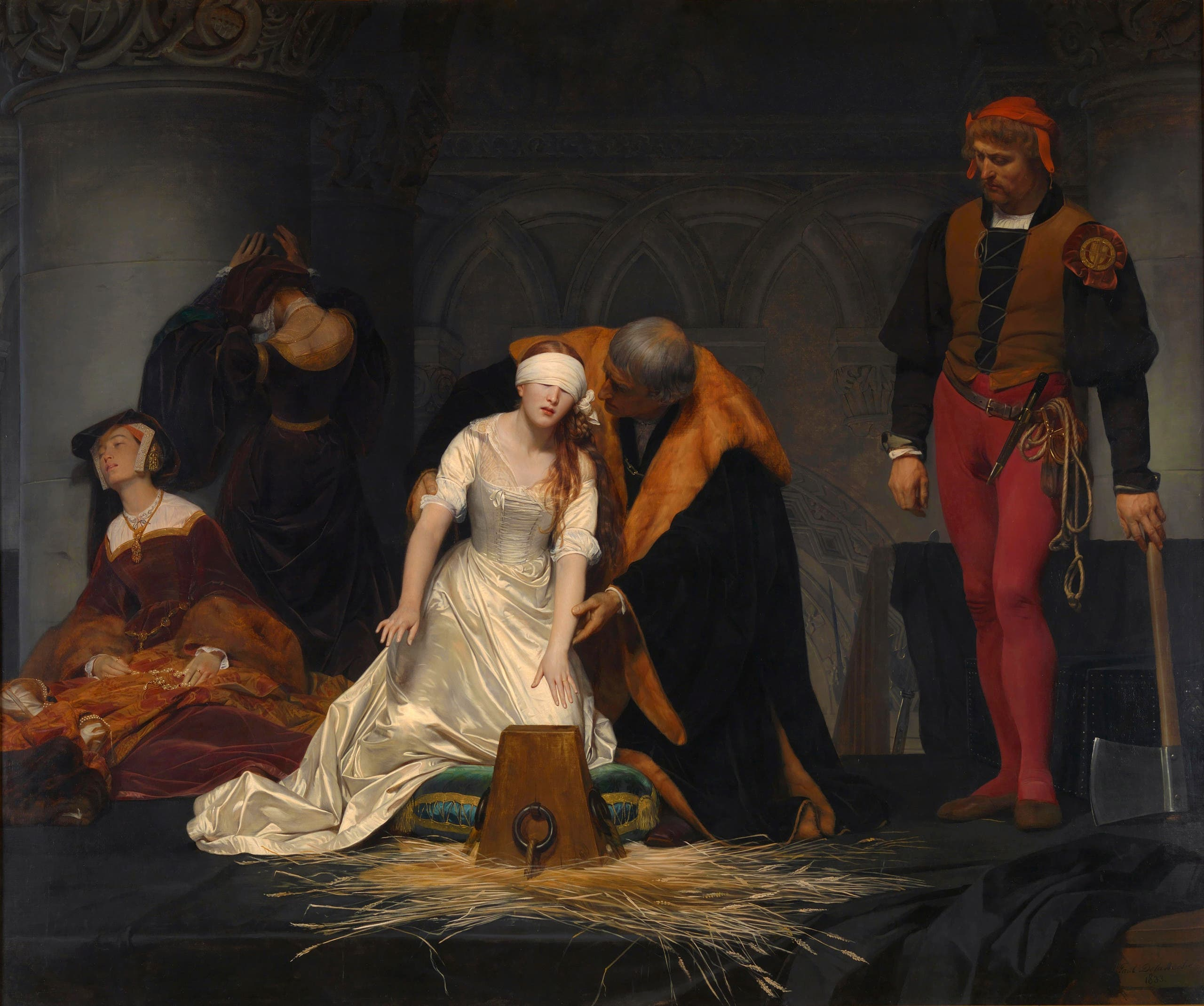 لوحة تجسد الاستعدادات لقطع رأس ليدي جين غراي